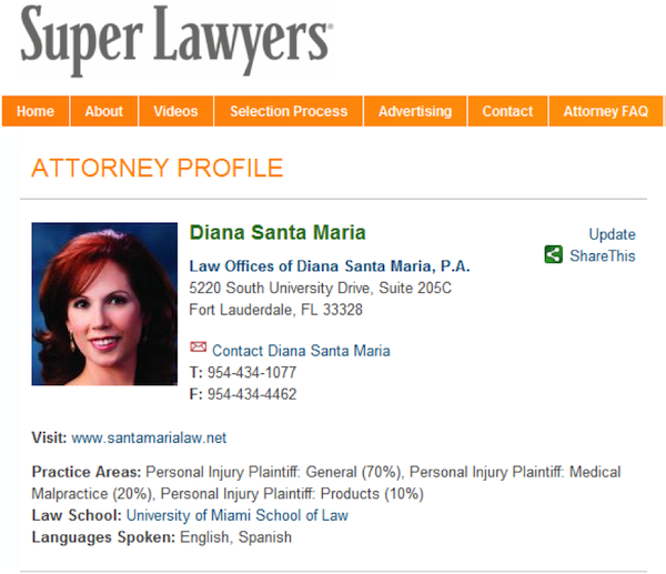 Diana Santa Maria's Profile on Super Lawyers