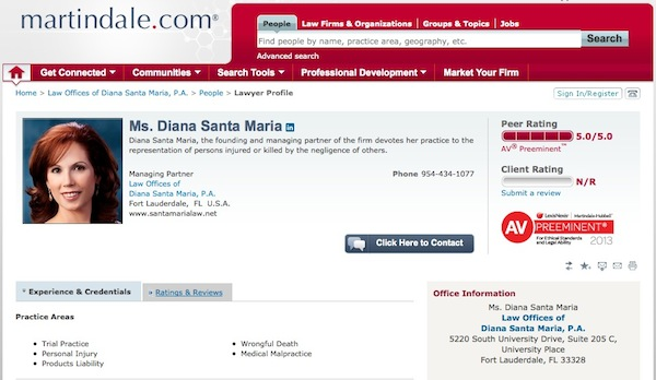 Diana Santa Maria's Profile on martindale.com